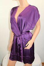 Angel Victoria's Secret Silky Lace  Short-Sleeve Kimono Robe Large Purple Nwt