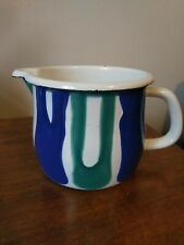 More details for vintage style riess classic enamel pot jug white blue green made in austria .75l