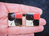 Vintage 1980's Gold Tone Black, Red, Cream Enamel Pierced Earrings
