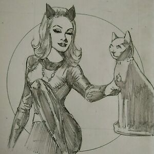 Julie Newmar Original Catwoman Pencil Sketch