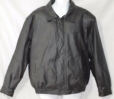 GINO LEATHERS Vintage Bomber Jacket SIZE XL Black Coat Quilted Liner