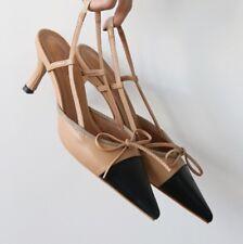 Calfskin Leather Colourblock with Bow Kitten Heels Slingbacks Pump Shoes