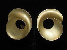 "Vintage Estate Costume Jewelry - Earrings - Goldtone Swirls - Signed ""MJ Ent."""