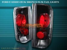 89-96 FORD F150 F250 F350 BRONCO TAIL LIGHTS BLACK 90 92 93 94