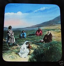 COLOUR Glass Magic Lantern Slide GROUP OF PEOPLE  c1890 THE BIBLE LANDS