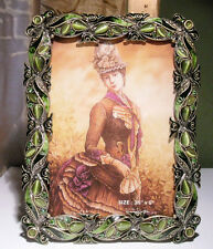 Solid Pewter Gold Tone PICTURE FRAME Enamel, Crystals GREENS 3.5 x 5