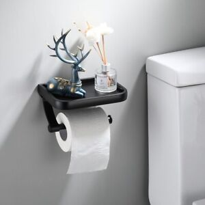 Wall Mounted Black Paper Holder Tissue Roll Holder With Phone Storage Shelf