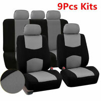 Auto Car Seat Cover 5-Seats Front+Rear Cushion Sedan SUV Mesh Polyester Gray Set