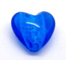 5 x bleu royal coeur lampwork feuille perles de verre - 20mm-même jour envoi gratuit
