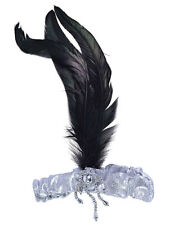 Silver Flapper Headband With Black Feather Retro Vintage Fancy Dress Gatsby New