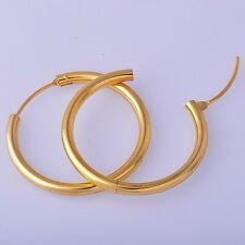 Fashion Classy Womens Ear Hoop Earrings Yellow Gold Filled Free Shipping
