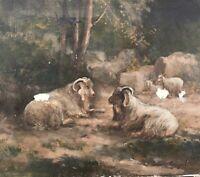 Ölgemälde Tiermaler Leon Engelen Landschaft mit Schafen 35,5 x 40 Niederlande