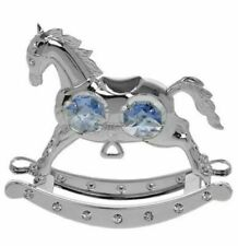 New Silver Plated Strass Giraffe Ornamental Christening Gift With Blue Diamontes