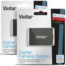2 Pack Vivitar LP-E10 Battery for Canon REBEL T3 T5 T6 EOS 1100D 1200D 1300D