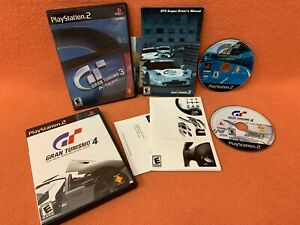 Gran Turismo 3 A-Spec & 4 Sony PlayStation 2 PS2 Black Label Game Lot Complete!