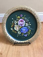 Vintage Nashco Tole Green Signed Metal Round Serving Tray Hand Painted Floral