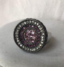 Lia Sophia Reign Ring Size 5 6 Hematite Top Pink Purple Cz Silver Band Heavy