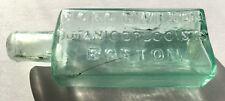 Antique Aqua Medicine Bottle Pontil, B O & G C Wilson Botanic Druggist