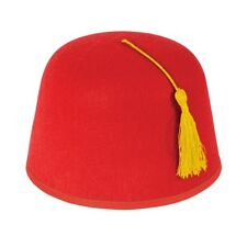 Adult Red Fez Tarboosh Hat Tommy Cooper Moroccan Turkish Fancy Dress Up