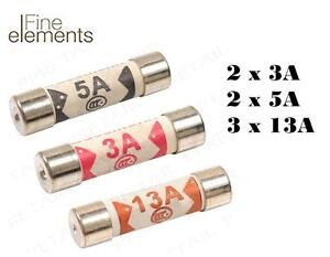 6x Assorted Mixed Fuses 3amp 5amp 13amp Domestic Household Mains Plug Fuse ES916