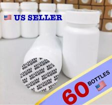 WHOLESALE 60x White Pill Empty Bottle Tablets Capsules Container Jar - 75 ml/cc