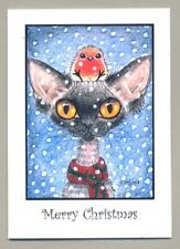 NEW DEVON REX CAT AND ROBIN IN SNOW CHRISTMAS CARDS PACK OF 6 BY SUZANNE LE GOOD