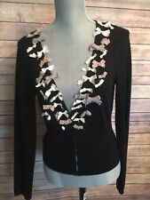 Anthropologie Knitted & Knotted Teddy Darling Cardi Cropped Cardigan w/ Bows M