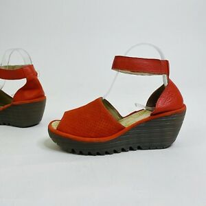 Fly London Yala Perforated Suede Leather Ankle Strap Wedge Comfort Sandals 37