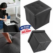 Folding Ottoman Faux Leather  Pouf Storage Cube Stool Footstool Blanket Box ACB#