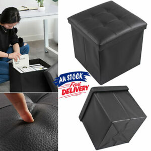 Folding Ottoman Faux Leather  Pouf Storage Cube Stool Footstool Blanket Box ACB#