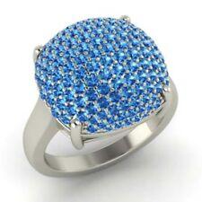 2.50 Ct Topaz Natural Gemstone Wedding Ring Round Cut 14K White Gold Size O P Q