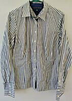 Tommy Hilfiger Women's Long Sleeve Blue Striped Button Down Blouse Size Large