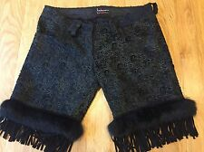 Festival Stunning Laser Cut Leather Suede Fur Shorts Trousers Black Size 8