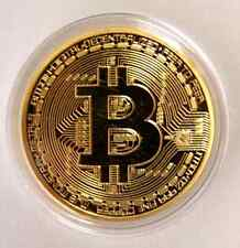 Bit Coins Commemorative Round Art Coin Bitcoin Collectors Gold Plated