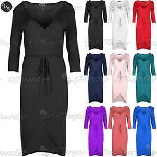Unbranded Women's 3/4 Sleeve V Neck Stretch, Bodycon Dresses