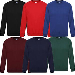 Mens Plain Sweatshirt Crew Jersey Fleece Lined Pullover Casual Work Jumper Top