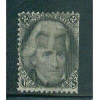 US SCOTT # 73 - 2¢ - ANDREW JACKSON black, Straight Edge c1863 CV $65 #LLC3 Used