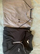 Lot Of Two Under armour men's Shirts Grey And Black One Is 3/4 Zip One Is Tshirt