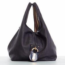 LOEWE Calle black soft leather oversized padlock hobo shoulder bag