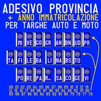 ADESIVI (2ANT/2POST) TARGA PROVINCIA + ANNO X RIPRISTINO TARGHE AUTO MOTO CAMION