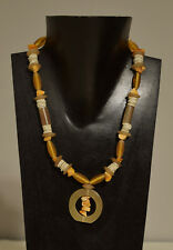 Necklace Baltic Amber Chips African Ostrich Shell Horn Beaded Necklace
