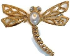 Dragonfly Pin / Brooch Vintage Goldtone Pearl and Rhinestone