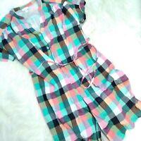 New INGRID & ISABEL Maternity Orange Green Plaid Dolman Tie Waist Shirt Dress, M