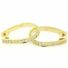 18K Yellow Gold Simple 0.75ctw F VS Pave Round Diamond Snap Oval Hoop Earrings