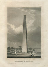 Antique Engraving – The Monument on Bunkers Hill (1850)