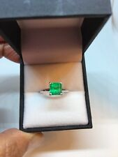 Vintage Colombian Emerald 14k White Gold Solitaire Engagement Ring
