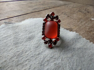Faux Orange Amber Open Adjustable Ring (Size 6) w/Orange, Dark Red Stones
