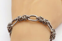 MEXICO 925 Sterling Silver - Vintage Byzantine Oval Link Chain Bracelet - BT1449
