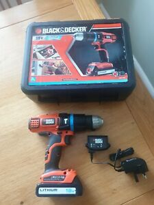 Black & Decker BDH18 H1 18V Cordless Drill, BL1518 Battery, charger, carry case