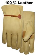 New Men's 100%  Tan  Leather Driving Work Casual Dress Winter Gloves Large L